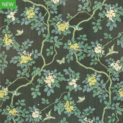 7814-15 BIRDS AND BUTTERFLY HERRINGBONE WOODLAND